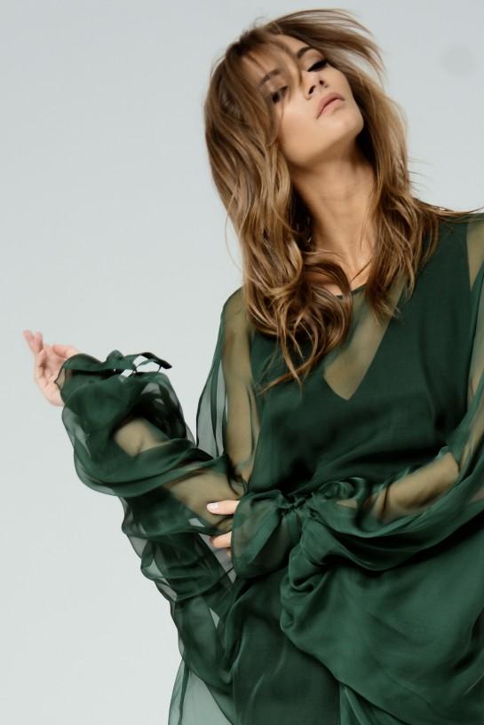 Muślinowa bluzka ciemna zieleń