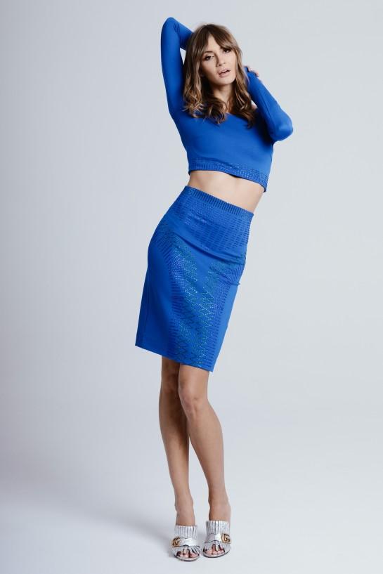 Kobaltowa spódnica z wysokim stanem z cyrkoniami