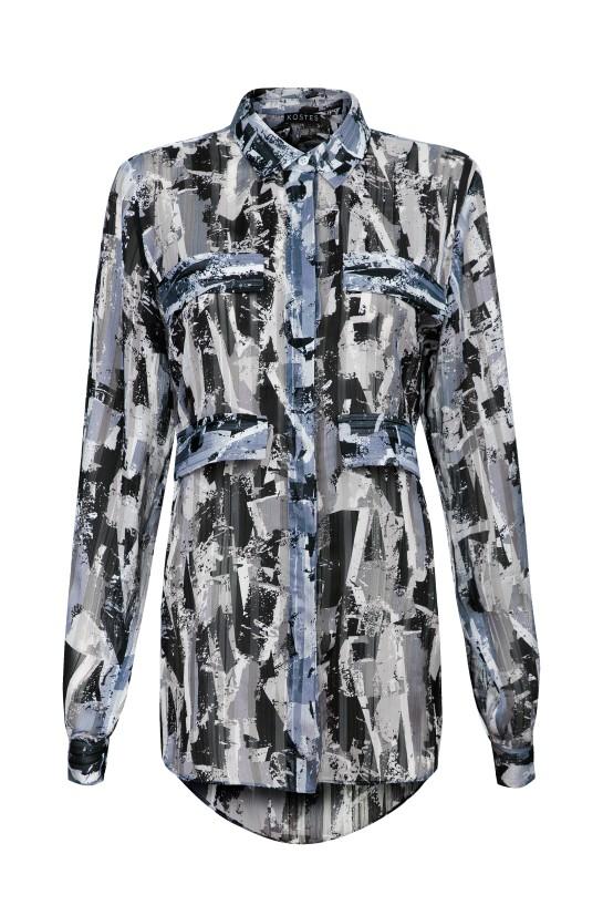 Koszula szary print z ozdobnymi kieszonkami