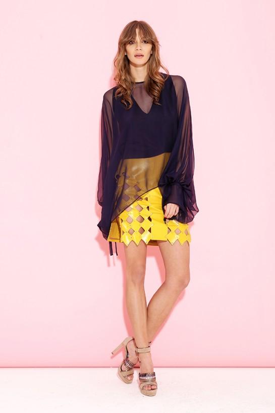 Żółta skórzana spódnica z rombami