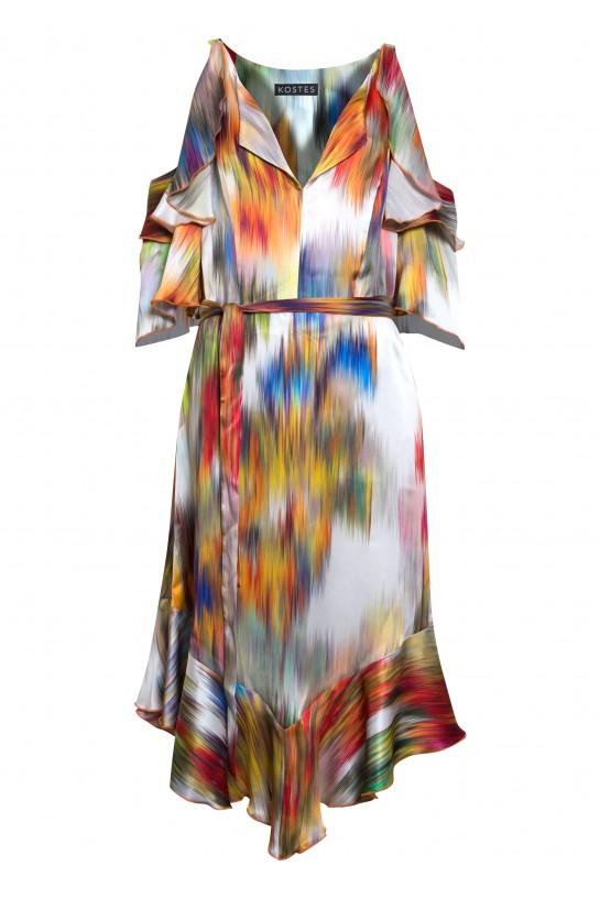 Sukienka jedwabna z falbankami