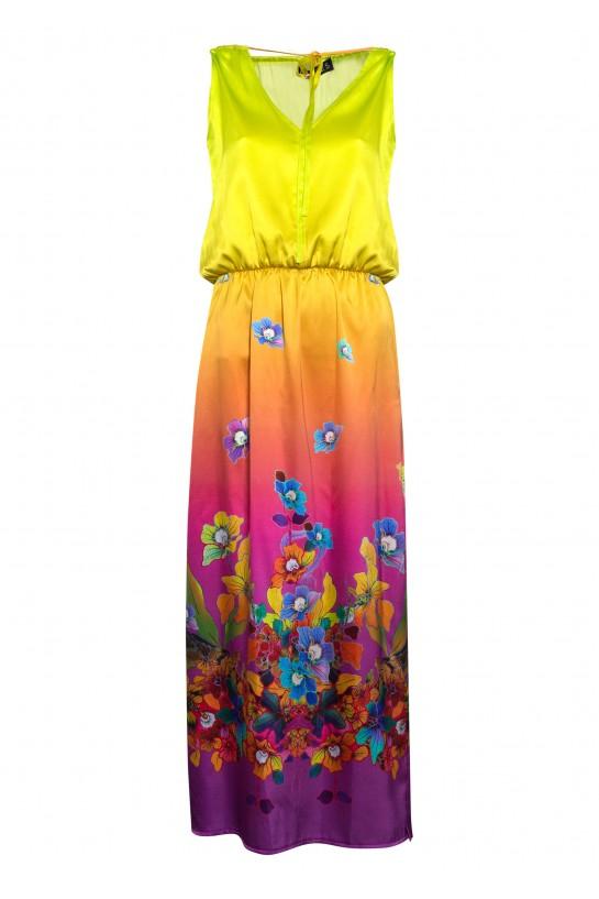 Długa jedwabna sukienka w różowe kwiaty