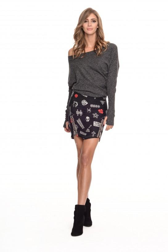 Asymetryczny szary sweter