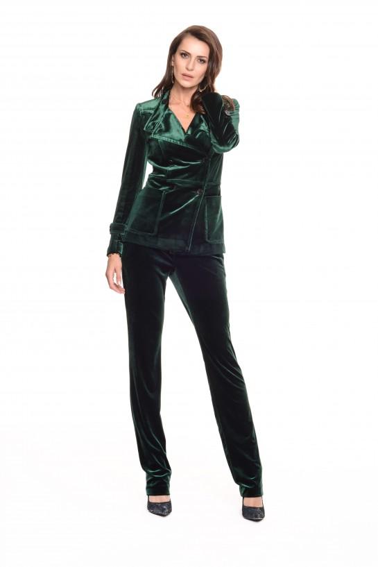 Zielone spodnie z weluru
