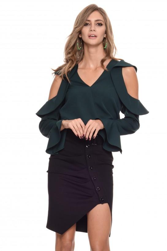 Zielona bluzka z falbankami