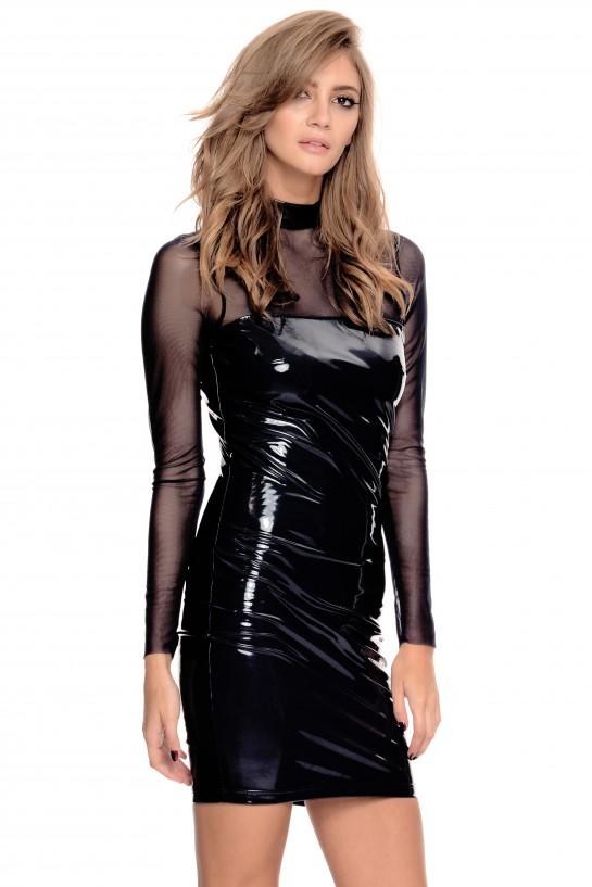 Czarna lateksowa sukienka z siatką