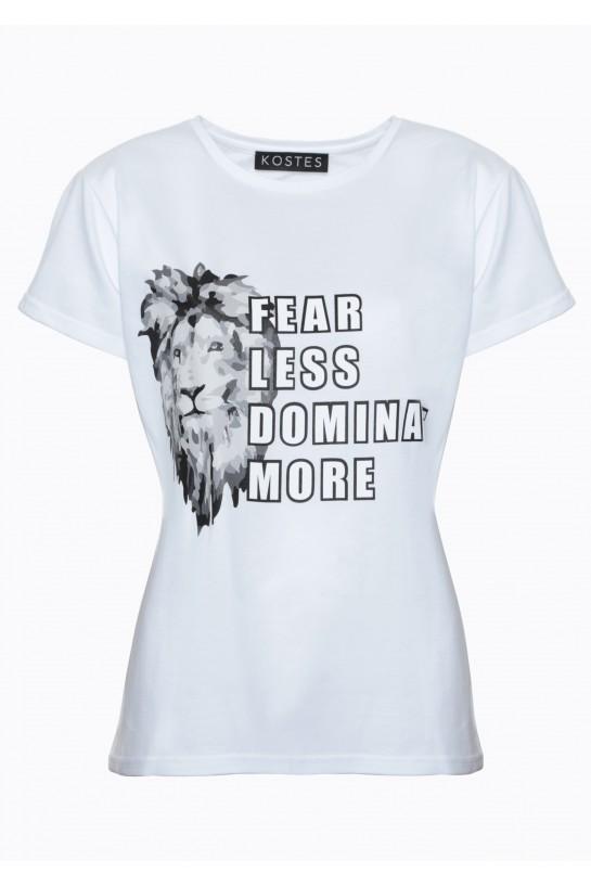 T-shirt biały z Lwem