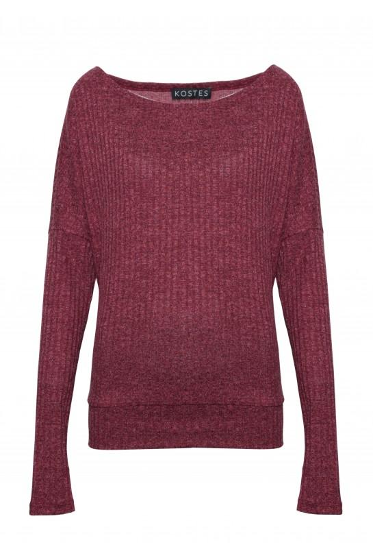 Asymetryczny ceglany sweter