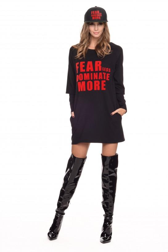 Czarna sukienka dresowa z napisem