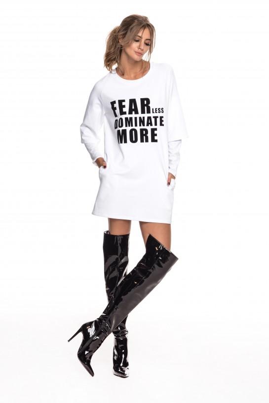 Biała sukienka dresowa z napisem