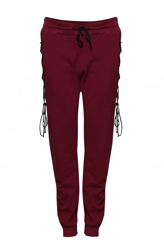 Bordowe spodnie dresowe