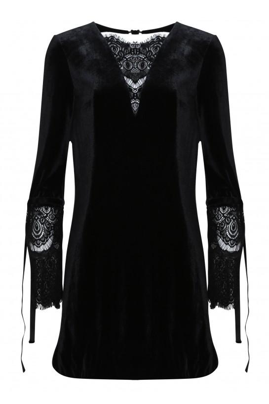 Sukienka welurowa z koronką