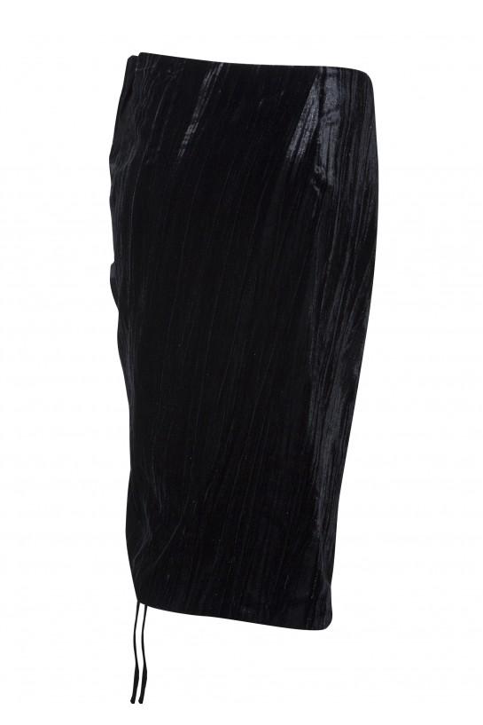 Welurowa spódnica z falbanką