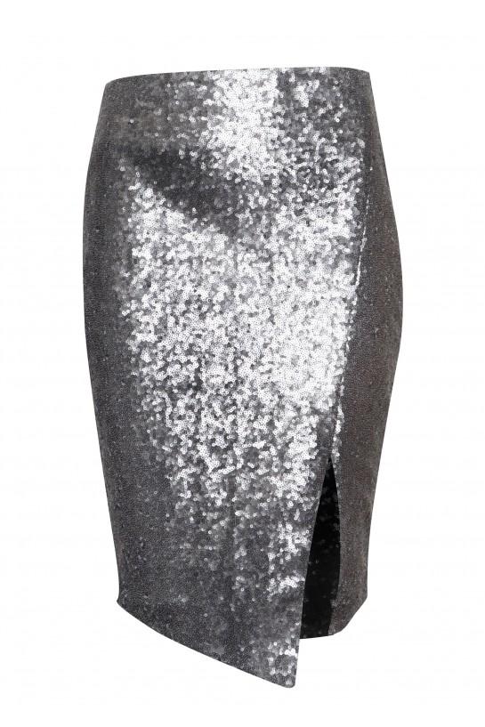 Spódnica cekinowa srebrna