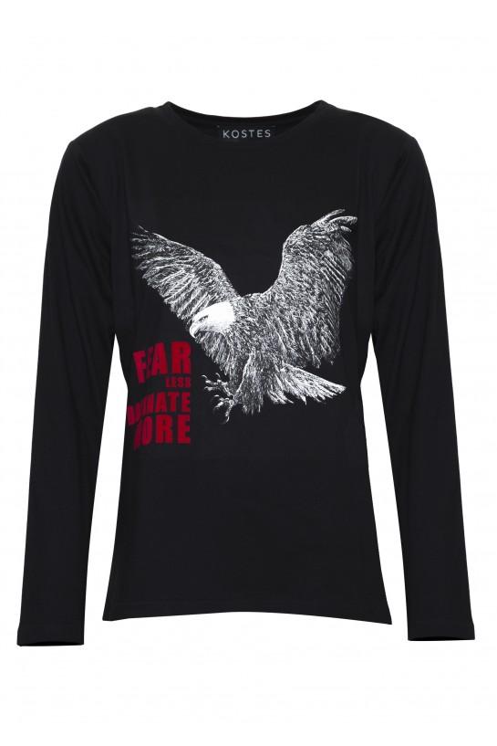 Czarny t-shirt z długim rękawem z orłem
