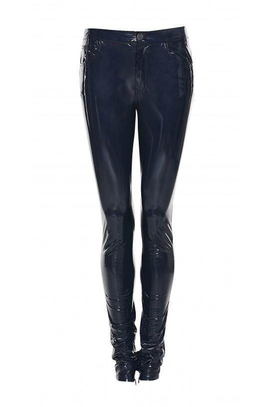 Granatowe spodnie lateksowe