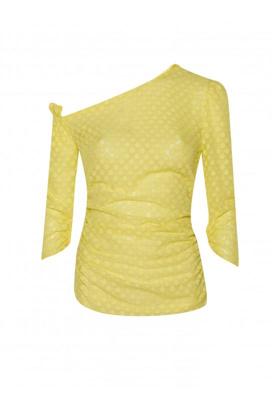 Asymetryczna żółta bluzka w grochy