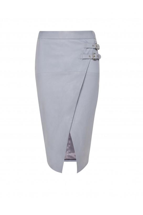 Niebieska skórzana spódnica