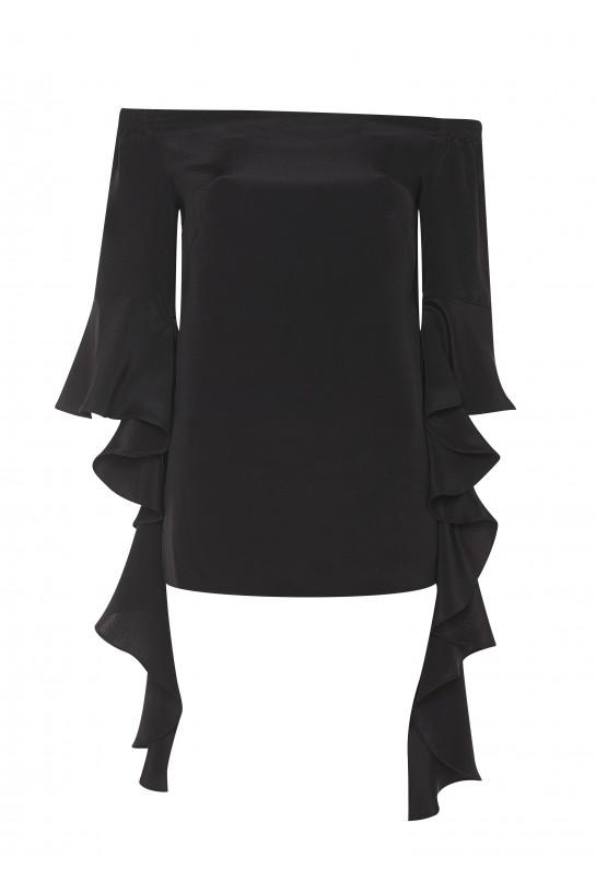 Czarna jedwabna bluzka