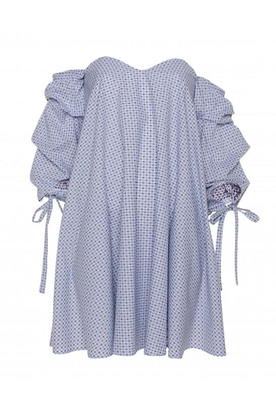 Sukienka w kratkę bez ramion