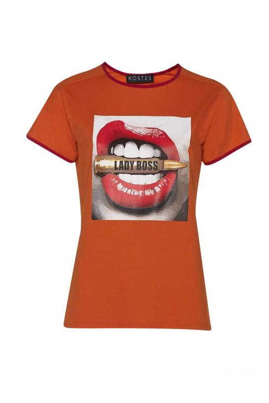 T-shirt Lady Boss pomarańczowy