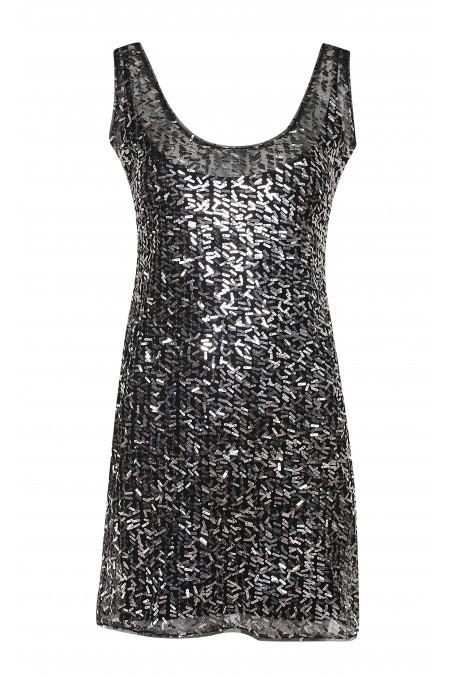 Sukienka ze srebrnymi blaszkami