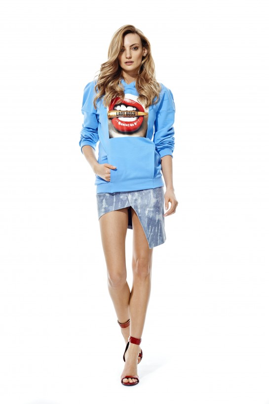 Bluza z kapturem LADY BOSS niebieska
