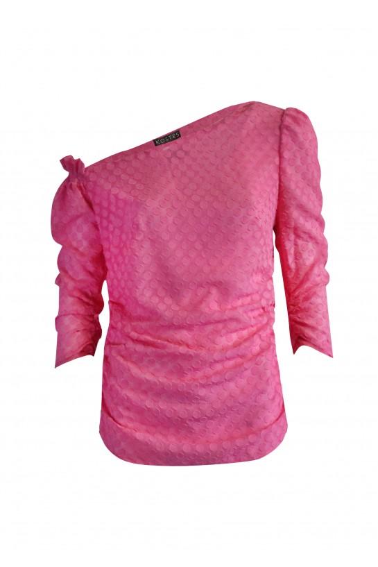 Asymetryczna różowa bluzka w grochy