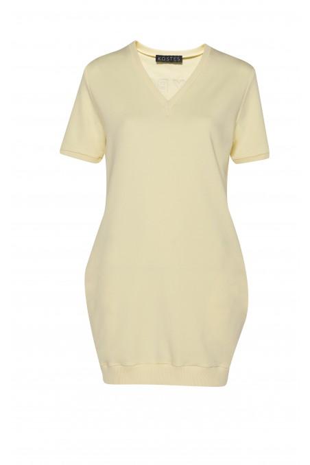 Sukienka dresowa LADY BOSS cytrynowa