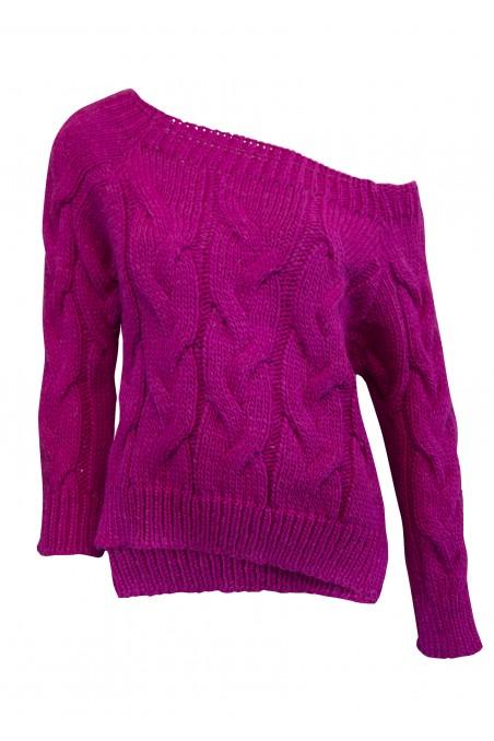 Sweter dzianinowy w kolorze fuksji