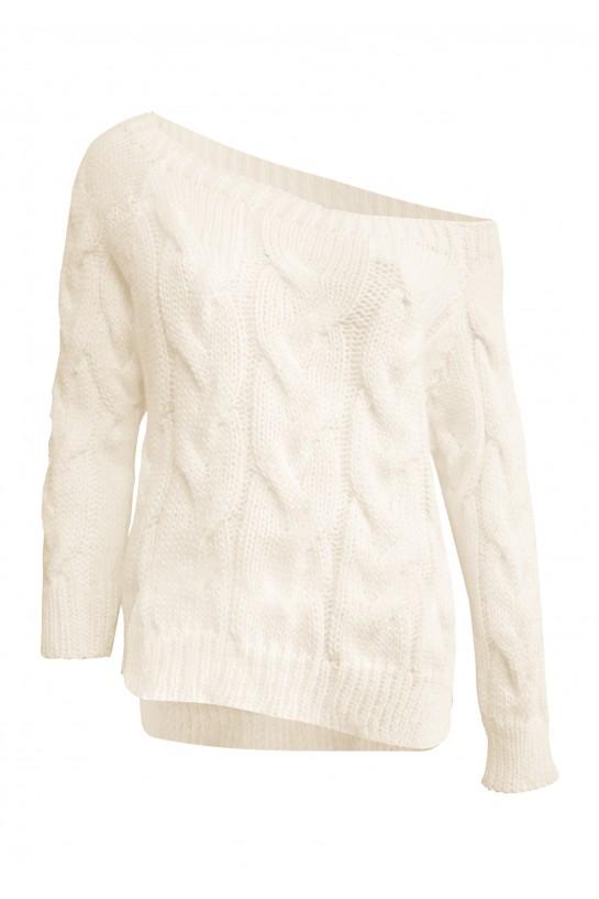 Sweter dzianinowy w kolorze ecru
