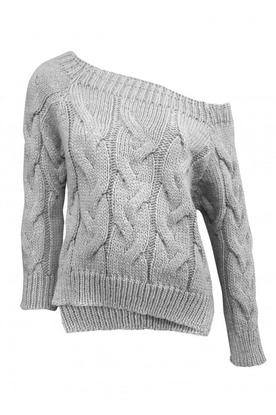 Sweter dzianinowy w kolorze szarym
