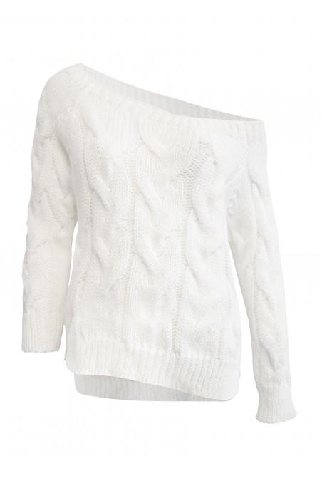 Sweter dzianinowy w kolorze białym