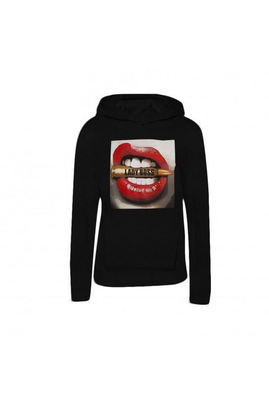 Bluza z kapturem LADY BOSS czarna