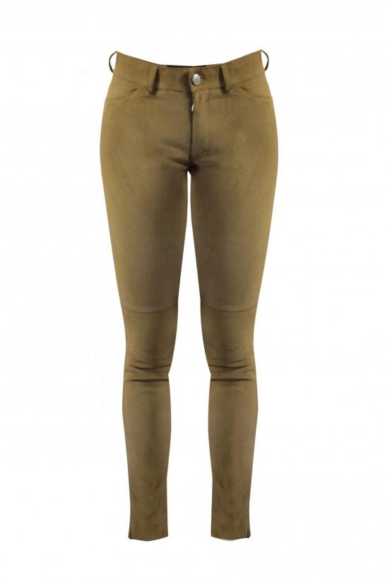 Spodnie z naturalnej skóry zamszowej