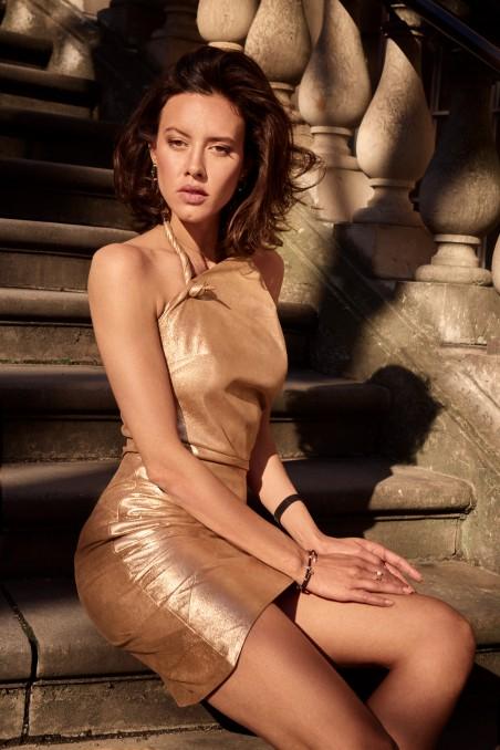 Złota skórzana sukienka