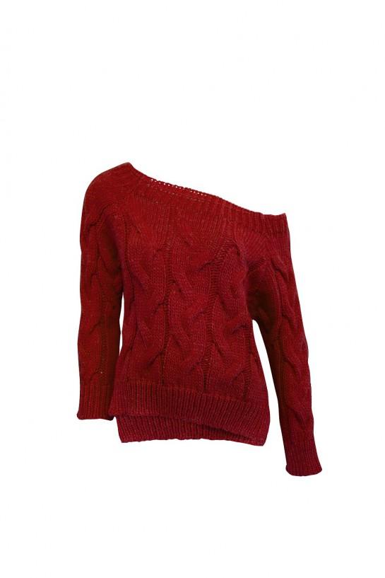 Sweter dzianinowy w kolorze czerwonym