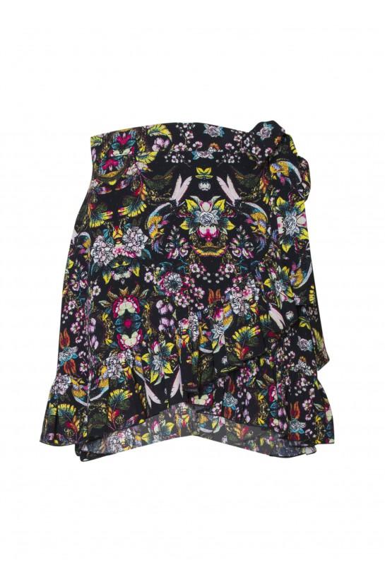 Spódnica z falbanką w czarne kwiatuszki