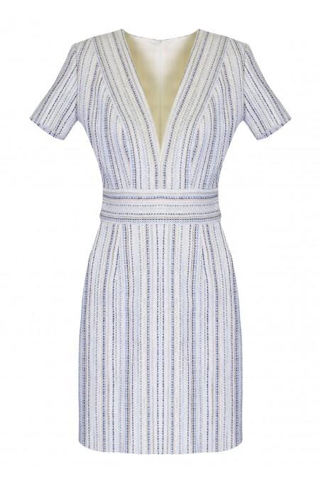 Sukienka z tweedu z krótkim rękawkiem