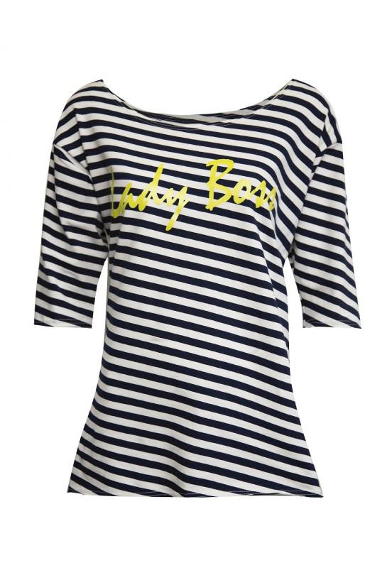 T-shirt w paski Lady Boss