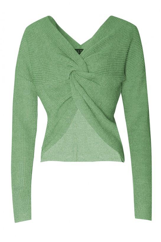 Sweter z fantazyjnym supłem zielony