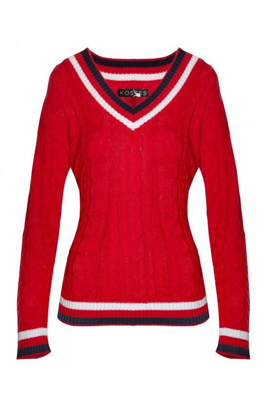 Sweter dzianinowy w serek czerwony