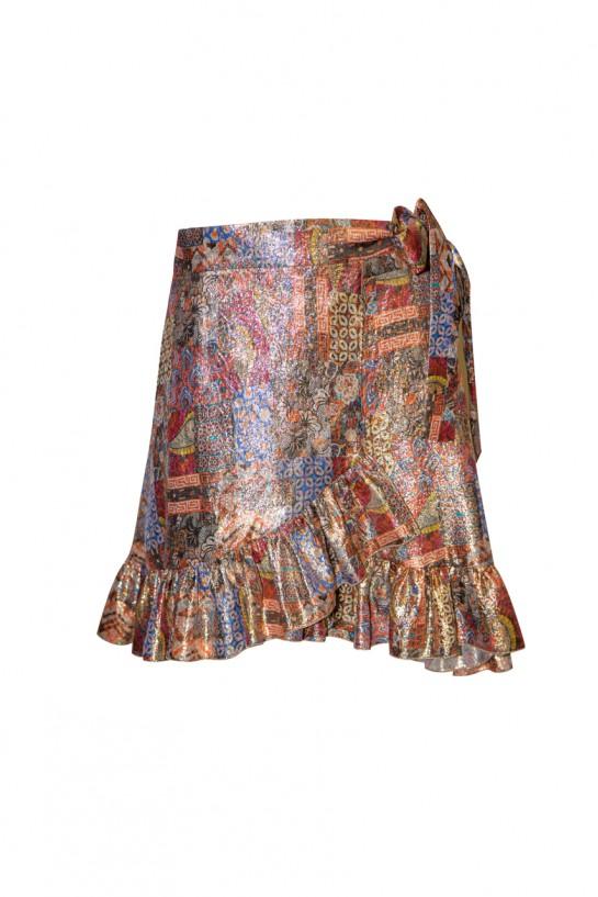 Krótka spódnica złota z falbanką