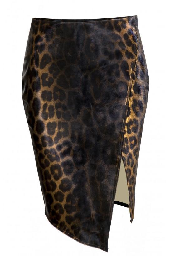 Skórzana spódnica panterka