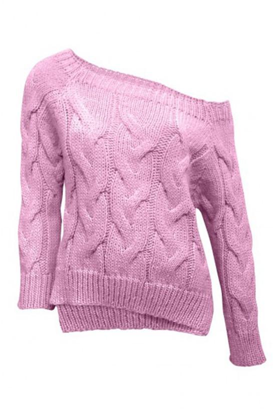 Sweter dzianinowy w kolorze pudrowego różu