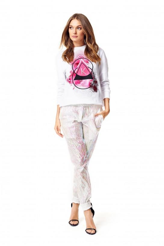 Bluza biała z nadrukiem hologramowym