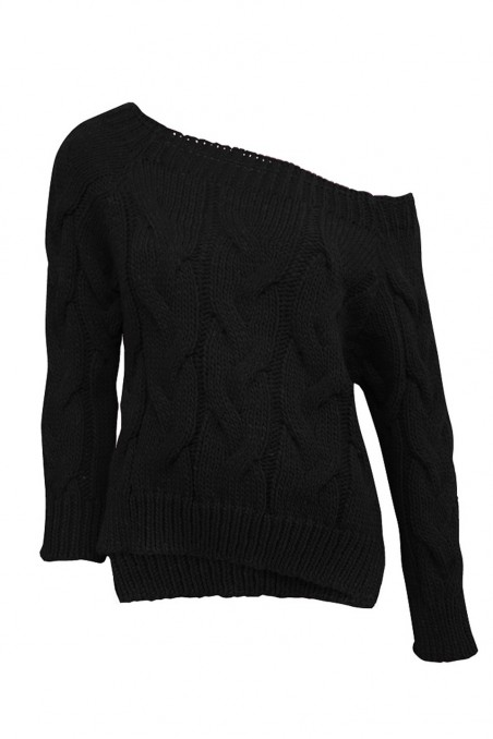 Sweter dzianinowy w kolorze czarnym
