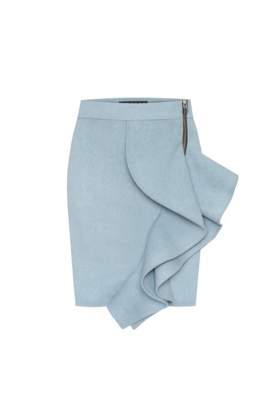 Spódnica jeans z falbaną