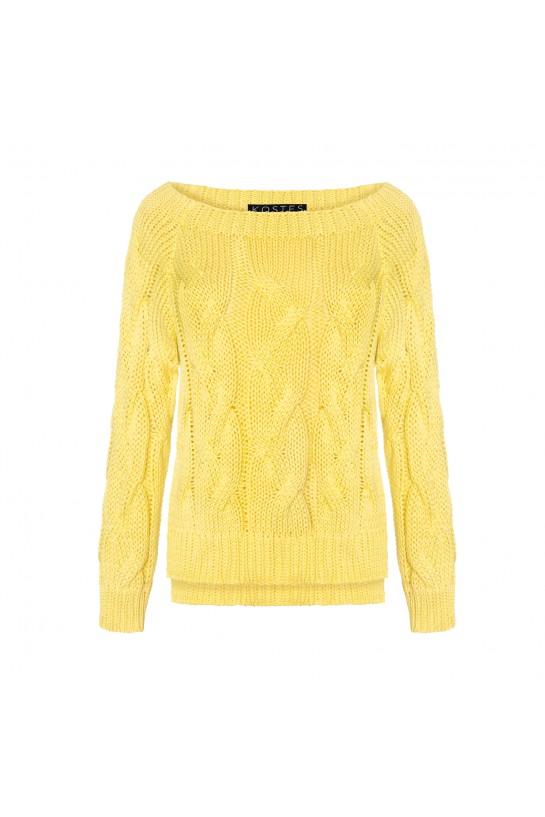 Sweter dzianinowy w kolorze cytrynowym