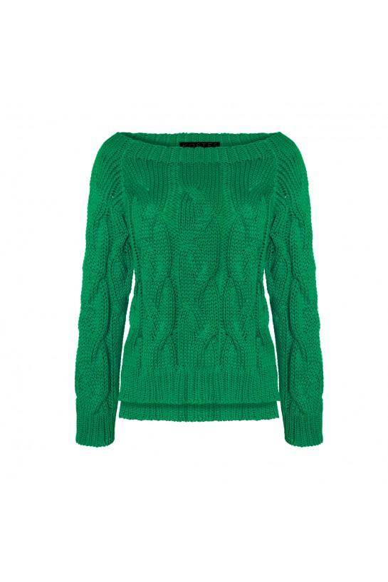 Sweter dzianinowy w kolorze zielonym